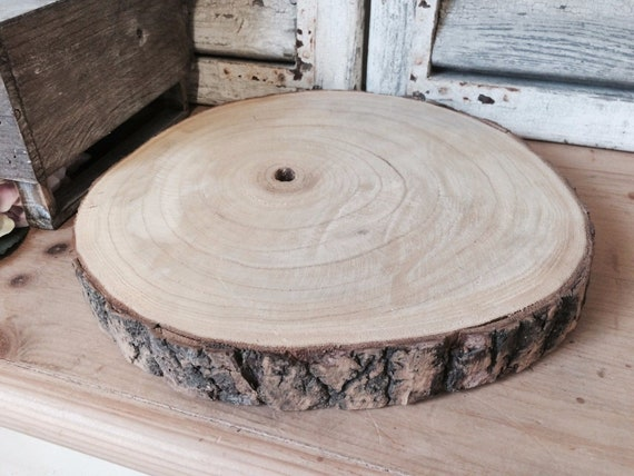 Large Natural Wood Log Slice Tree Bark Chic Wedding Table Centerpiece Cake Stand