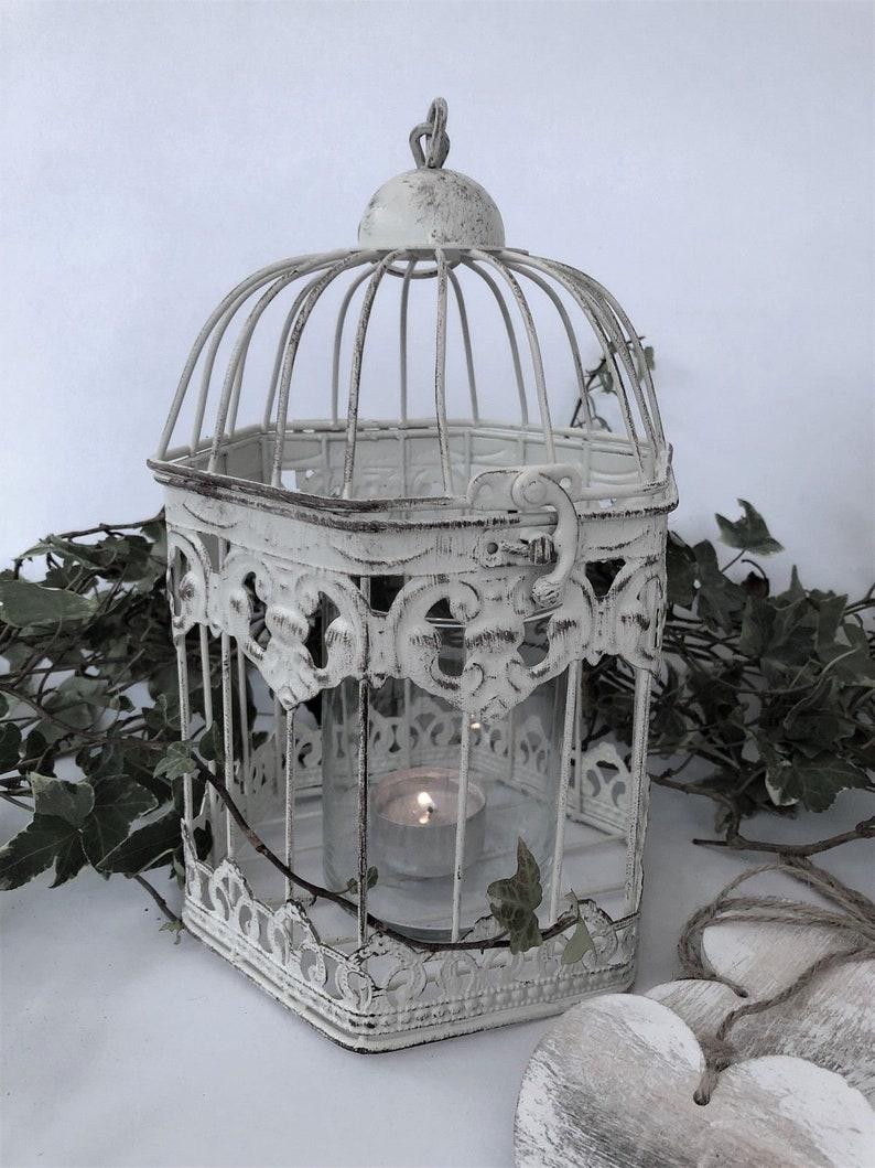 Hexagonal White Metal Bird Cage Vintage Shabby Heart Wedding Decoration Post Box