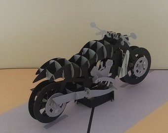 Motorbike 3d Pop up Card route 66 birthday card, fathers day card, Dad