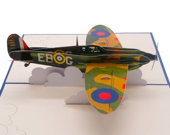 Spitfire  Pop up Card, Birthday card/ Father's day card/Battle of britain 80th Anniversary