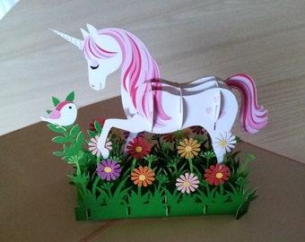 Unicorn 3d pop up card with flowers birthdays