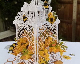 Bees and sunflowers in cage pop up card birthday,thank you, Anniversary