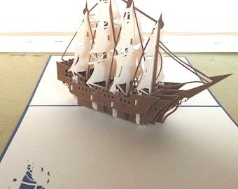 Sailing Ship Pop Up Card Birthday/Sailing