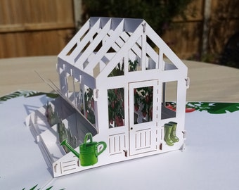 Greenhouse and flowers pop up card, gardeners, allotment, birthday card, new home, anniversary, Father's day