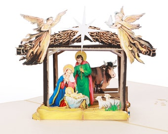 Christmas Nativity pop up card 3D traditional Christmas/family/ Jesus/Mary/Joseph/religious