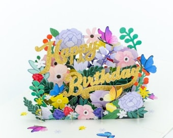 Butterflies and flowers pop up Happy Birthday card