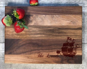 1-3 Days Comes to you FAST Free Shipping to mainland USA Can be personalized for you. Pirate Bamboo Cutting Board