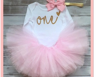 49e77a6fe Pink and gold 1st First Birthday baby girls outfit, Baby Girls Cake Smash  outfit, Baby Girls Party Outfit pink tutu 3 piece set