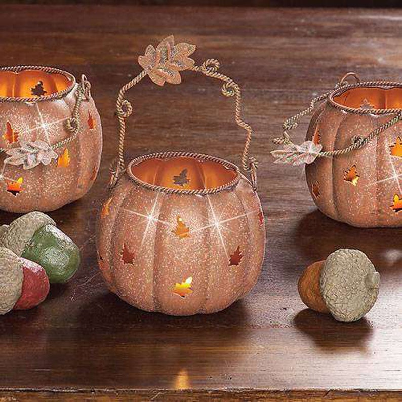 Set of 3 Rustic Metal Oak Leaf Tea Light Candle Lantern image 0