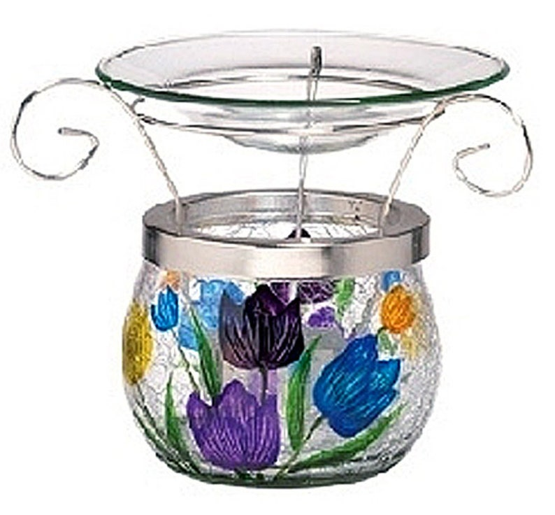 Tulip Bouquet 3 Piece Crackle Glass & Metal Wax Warmer for image 0