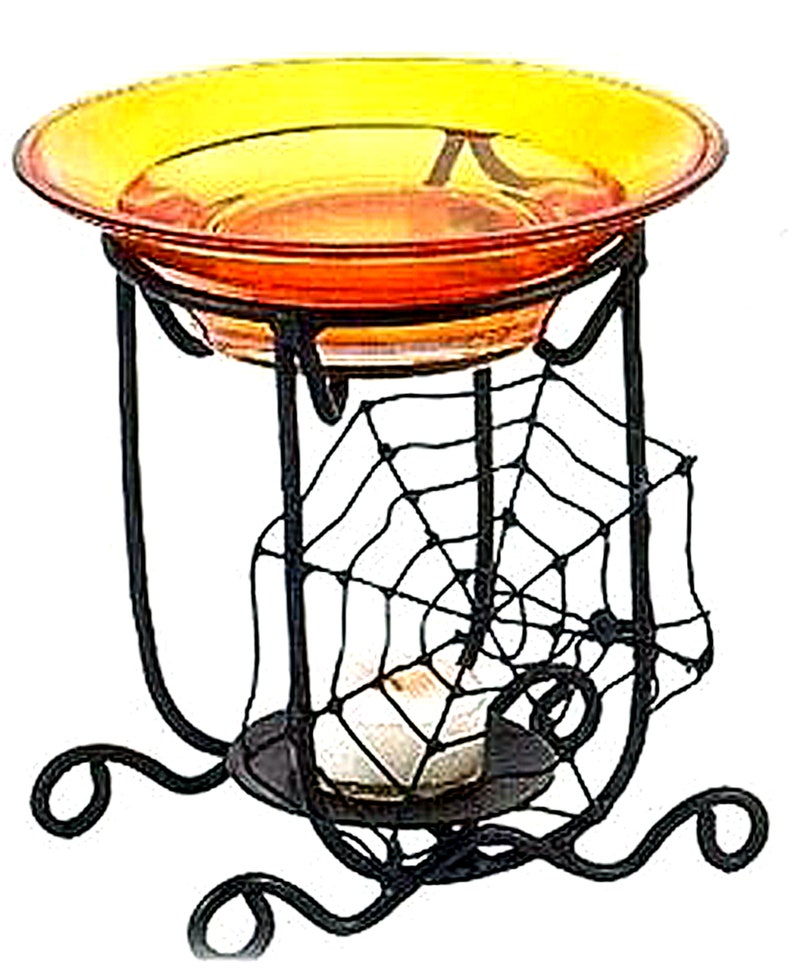 Black Metal and Orange Glass tray Spider Web 2 Piece Fragrance image 0
