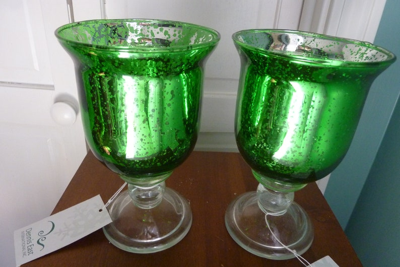 Set of 2 Bright Christmas Green Mercury Glass pedestal Goblet image 0