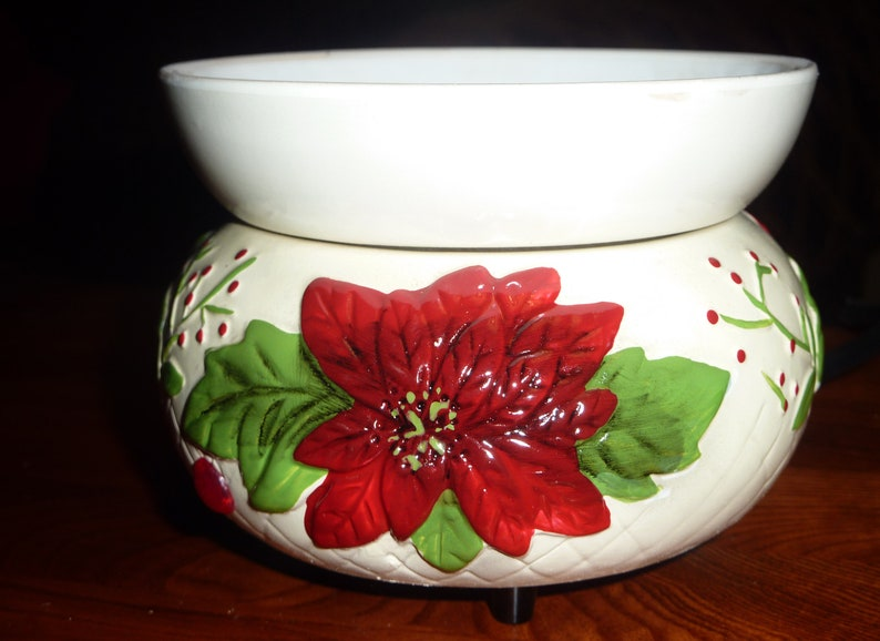 Poinsettia Two Piece Electric Stoneware Ceramic Wax Warmer for image 0