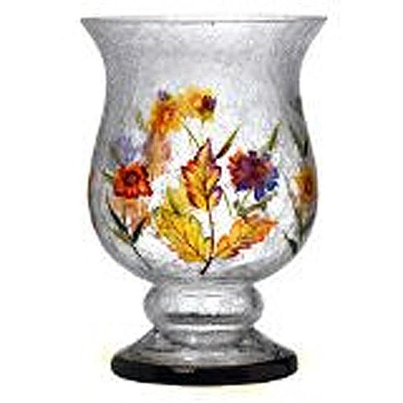 Monet's Garden Crackle Glass Pedestal Candle Holder for image 0