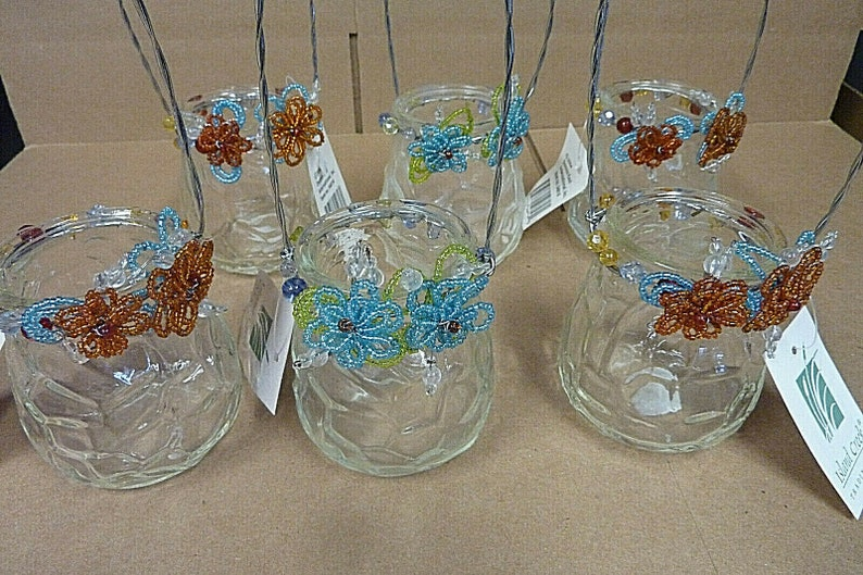 LOT of 6 Island Creek Beaded Hanging Votive Candle Textured image 0