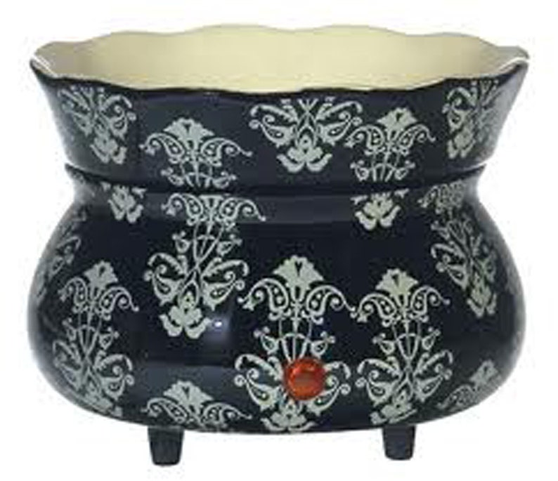 Two Piece Electric Black Damask Stoneware Ceramic Wax Warmer image 0