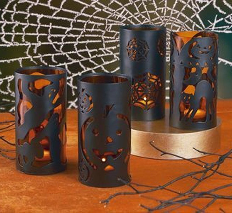 Black Metal Halloween Tea Light Candle Lantern Luminaries with image 0