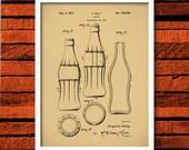Coca-Cola Bottle Patent Print, Coke Bottle Poster, Coke Patent Art, Coke Bottle Wall Art