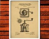 Coffee Grinder Patent Print, Coffee Decor, Kitchen Decor, Coffee Grinder Art