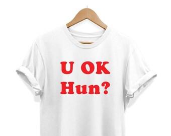 LADY TANK VEST t shirt LOVE slogan funny tee girl woman lady YOU okay U OK HUN
