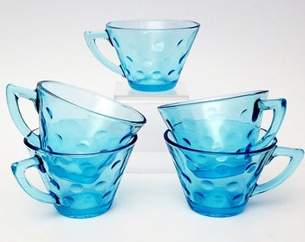 SALE***AQUA BLUE Glass Tea Cups   Set of 2 With Raised Dot Bottom Pattern Aqua Cups