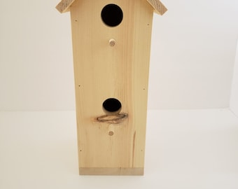 Rustic Style Single Birdhouse with Two Openings