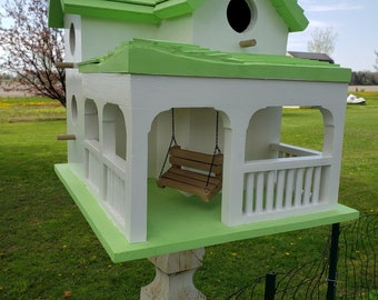 Country Farm House Birdhouse with Porch and Swing