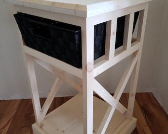 Farmhouse Basket Drawer Side Table