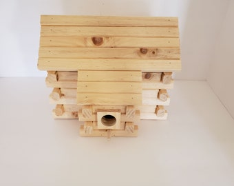 Hand Crafted Log Cabin Bird House