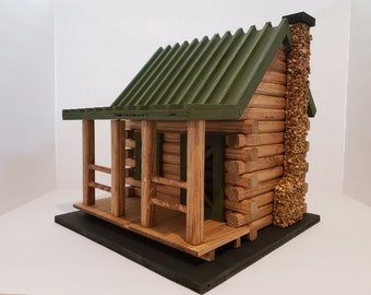 Hand Crafted Log Cabin Bird House with Stone Chimney