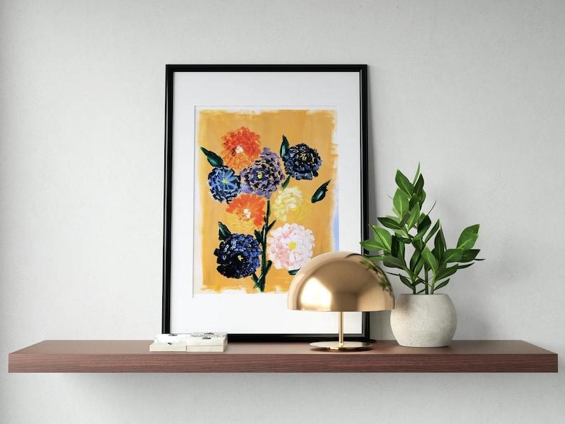 Dahlias on a Spring Day Watercolor Printable Decor Home Frame image 0