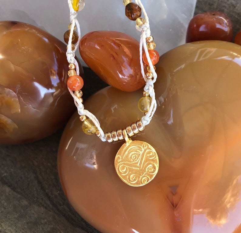 Eye of Horus 18K Vermeil over Sterling Pendant Hand Woven with Carnelian Sunstone Citrine and Crackle Agate Healing Stone Boho Chic Necklace