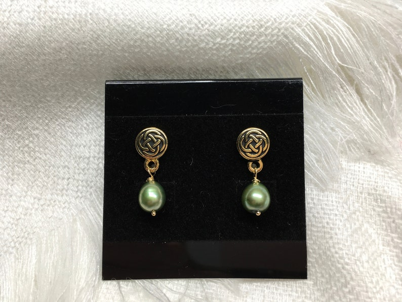 Patrick\u2019s Day Earrings Irish Style Earrings Celtic Style Green Pearl and Antique Gold Post Earrings St