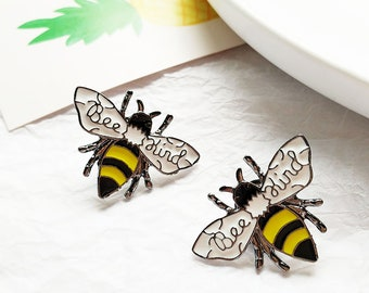 ea37afe6113 Lovely Bee Enamel brooch pin, Creative Bee Brooch Pin, BEE KIND Enamel Pin,Small  animal Clothes Lapel Pin, animal series brooch pin