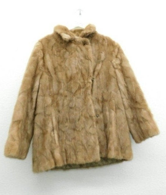 Womens Real Blush Blonde Mink Coat Vintage 80s Blonde Mink Fur Coat 1980s Fur Shawl Collar Real Genuine Plush Puff Sleeve Waist Coat