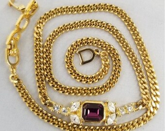 Christian Dior Necklace Gold Tone Necklace with Rhinestones and Purple Amethyst, Signed, Authentic, GORGEOUS Valentines Day Gift