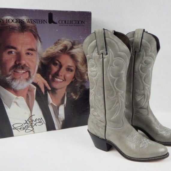 Kenny Rogers Western Boots, Women's Gray Leather C