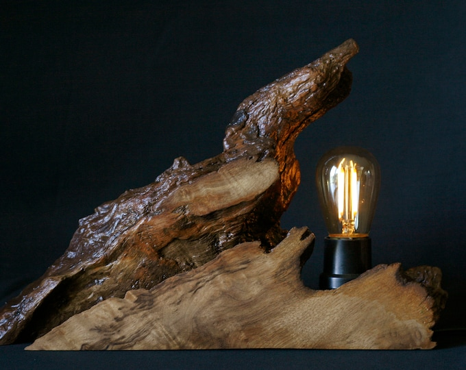 Myrtlewood Lamp with Dimmable Light, Wood Lamp with Edison-style Bulb, Myrtlewood Night Lamp