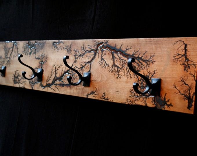 Wall-Mounted Myrtlewood/Resin Lichtenberg Coat Rack, Lighting Bolt Coat Rack, Coat Rack/Hat Rack, Resin and Wood Coat Rack