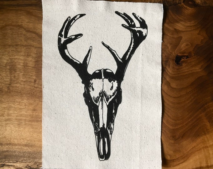 Deer Skull Screen Printed Patch, Nature Patch, Fabric Patch