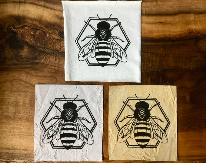 """Large 7.5 x 8.5"""" Geometric Bee Screen Printed Patch, Nature Patch, Fabric Patch"""
