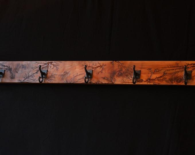 Wall-Mounted Maple/Resin Lichtenberg Coat Rack, Lighting Bolt Coat/Hat Rack, Resin and Wood Coat Rack