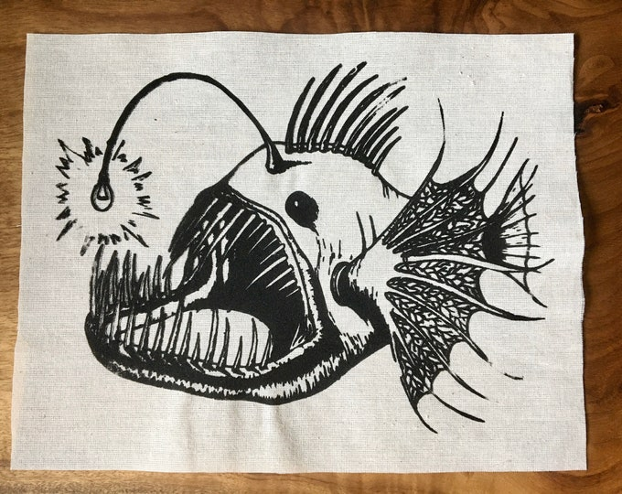 Anglerfish with Edison Bulb Screen Printed Patch, Nature Patch, Fabric Patch