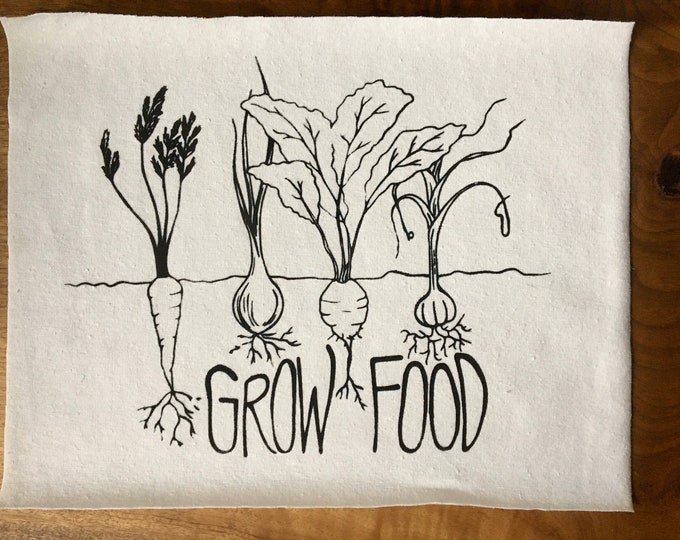 Grow Food Screen Printed Patch, Vegetable Patch, Fabric Patch