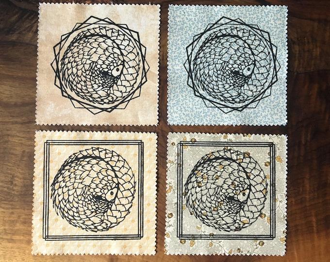 "Small 5x5"" Geometric Pangolin Screen Printed Patch - black on pattern, Nature Patch, Fabric Patch"