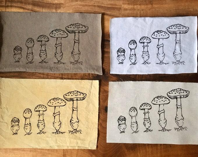 Mushroom Growth Screen Printed Patch, Mushroom Patch, Fabric Patch