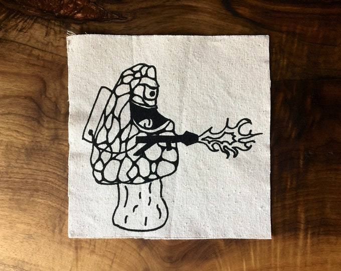 Morel Flamethrower Screen Printed Patch, Mushroom Patch, Nature Patch, Fabric Patch