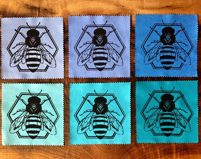 """Small 5x5"""" Geometric Bee Screen Printed Patch - black on blue, Nature Patch, Fabric Patch"""