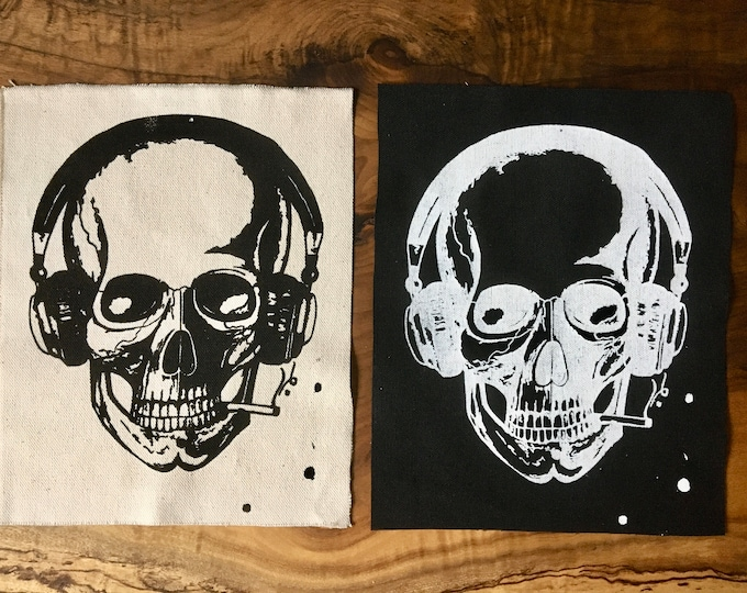 Music 'Til Death Patch, Skull with headphones patch, Screen Print Patch