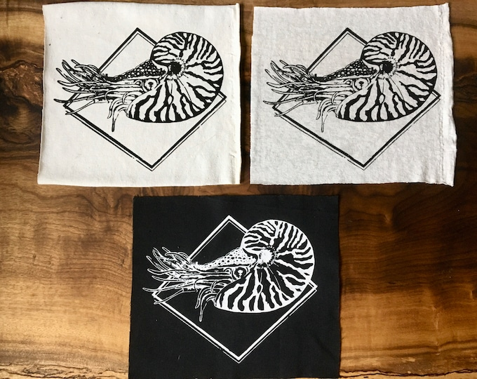 Nautilus Screen Printed Patch, Nature Patch, Fabric Patch
